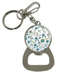 Blue Whimsical Flowers  On Blue Bottle Opener Key Chain