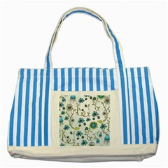 Blue Whimsical Flowers  On Blue Blue Striped Tote Bag