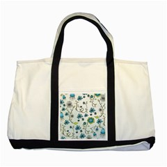 Blue Whimsical Flowers  on blue Two Toned Tote Bag