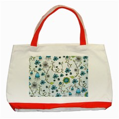 Blue Whimsical Flowers  on blue Classic Tote Bag (Red)