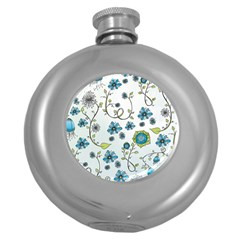 Blue Whimsical Flowers  on blue Hip Flask (Round)