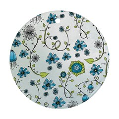 Blue Whimsical Flowers  On Blue Round Ornament (two Sides)