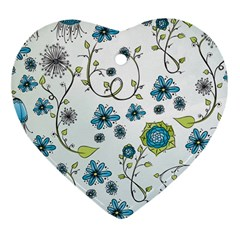 Blue Whimsical Flowers  on blue Heart Ornament (Two Sides)