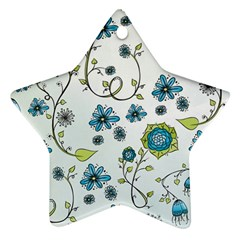Blue Whimsical Flowers  on blue Star Ornament (Two Sides)