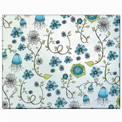 Blue Whimsical Flowers  on blue Canvas 8  x 10  (Unframed)