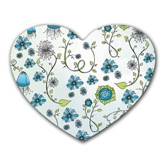 Blue Whimsical Flowers  On Blue Mouse Pad (heart)
