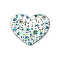 Blue Whimsical Flowers  on blue Drink Coasters (Heart)