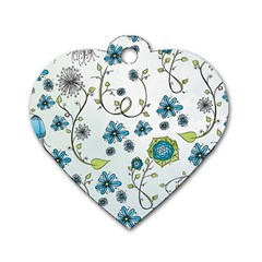 Blue Whimsical Flowers  On Blue Dog Tag Heart (two Sided)