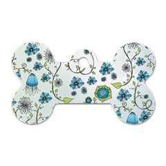 Blue Whimsical Flowers  on blue Dog Tag Bone (Two Sided)