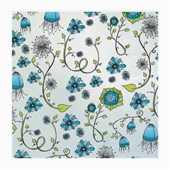 Blue Whimsical Flowers  On Blue Glasses Cloth (medium, Two Sided)