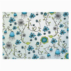 Blue Whimsical Flowers  On Blue Glasses Cloth (large, Two Sided)