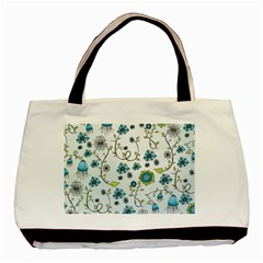 Blue Whimsical Flowers  On Blue Twin Sided Black Tote Bag
