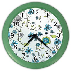 Blue Whimsical Flowers  on blue Wall Clock (Color)