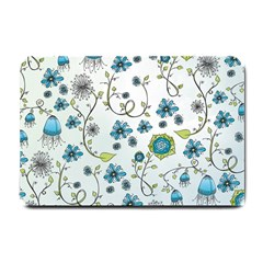 Blue Whimsical Flowers  On Blue Small Door Mat