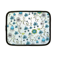 Blue Whimsical Flowers  On Blue Netbook Sleeve (small)