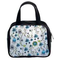 Blue Whimsical Flowers  on blue Classic Handbag (Two Sides)