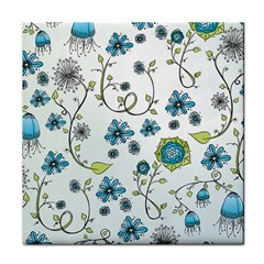 Blue Whimsical Flowers  on blue Face Towel