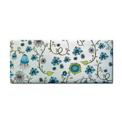 Blue Whimsical Flowers  On Blue Hand Towel