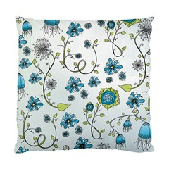 Blue Whimsical Flowers  on blue Cushion Case (Two Sided)