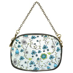 Blue Whimsical Flowers  On Blue Chain Purse (two Sided)