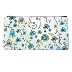 Blue Whimsical Flowers  On Blue Pencil Case