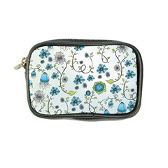 Blue Whimsical Flowers  On Blue Coin Purse