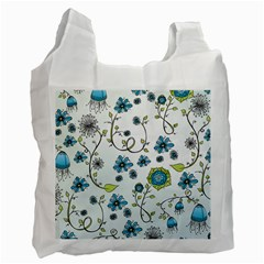 Blue Whimsical Flowers  on blue White Reusable Bag (One Side)