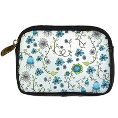 Blue Whimsical Flowers  On Blue Digital Camera Leather Case