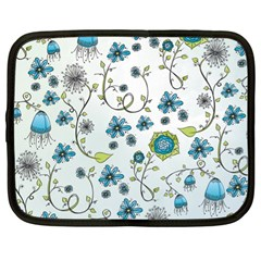 Blue Whimsical Flowers  On Blue Netbook Sleeve (xl)