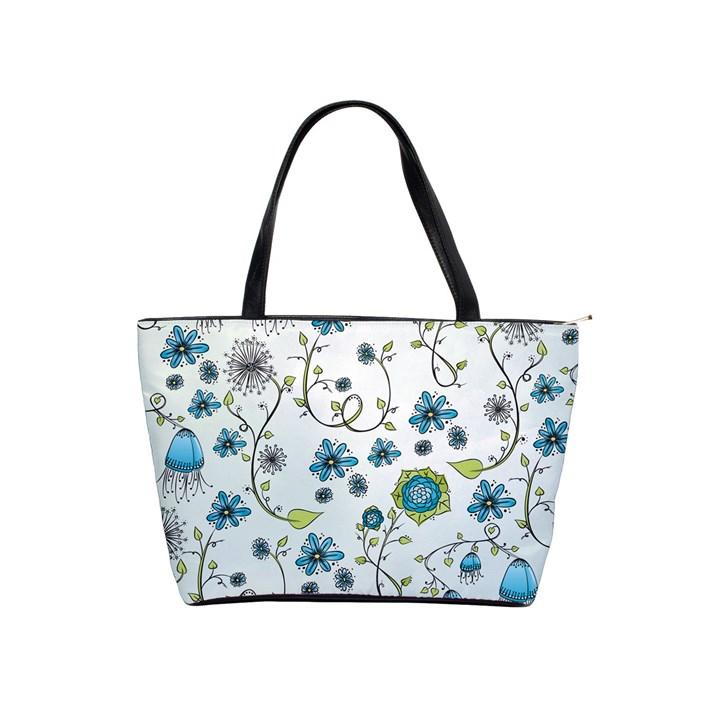 Blue Whimsical Flowers  on blue Large Shoulder Bag