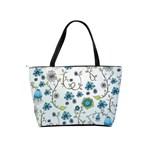 Blue Whimsical Flowers  on blue Large Shoulder Bag Back
