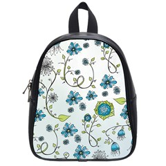 Blue Whimsical Flowers  on blue School Bag (Small)