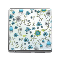 Blue Whimsical Flowers  On Blue Memory Card Reader With Storage (square)
