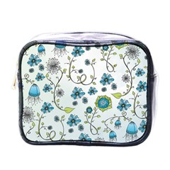 Blue Whimsical Flowers  On Blue Mini Travel Toiletry Bag (one Side)