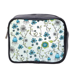Blue Whimsical Flowers  On Blue Mini Travel Toiletry Bag (two Sides)