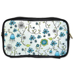 Blue Whimsical Flowers  on blue Travel Toiletry Bag (Two Sides)