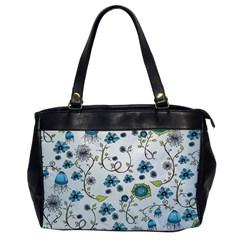 Blue Whimsical Flowers  On Blue Oversize Office Handbag (one Side)