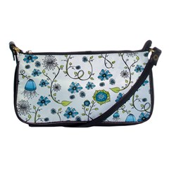 Blue Whimsical Flowers  On Blue Evening Bag