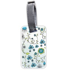 Blue Whimsical Flowers  on blue Luggage Tag (Two Sides)
