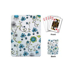 Blue Whimsical Flowers  on blue Playing Cards (Mini)