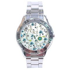 Blue Whimsical Flowers  on blue Stainless Steel Watch