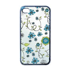 Blue Whimsical Flowers  On Blue Apple Iphone 4 Case (black)