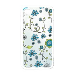 Blue Whimsical Flowers  On Blue Apple Iphone 4 Case (white)