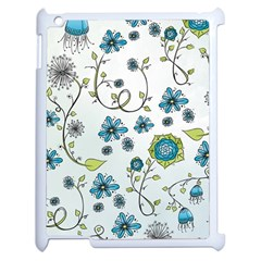 Blue Whimsical Flowers  on blue Apple iPad 2 Case (White)