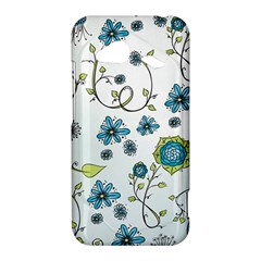 Blue Whimsical Flowers  on blue HTC Droid Incredible 4G LTE Hardshell Case