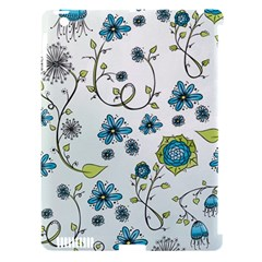 Blue Whimsical Flowers  On Blue Apple Ipad 3/4 Hardshell Case (compatible With Smart Cover)