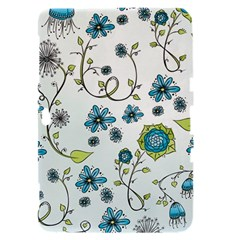 Blue Whimsical Flowers  on blue Samsung Galaxy Tab 8.9  P7300 Hardshell Case