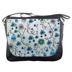 Blue Whimsical Flowers  On Blue Messenger Bag