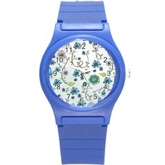 Blue Whimsical Flowers  on blue Plastic Sport Watch (Small)