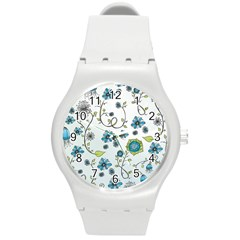 Blue Whimsical Flowers  On Blue Plastic Sport Watch (medium)
